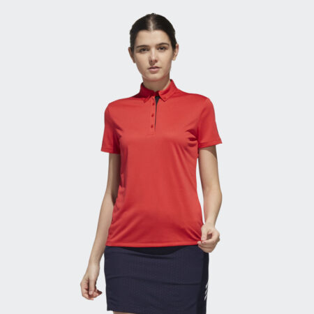 Model Wearing Ladies Polo Red Front BC2869