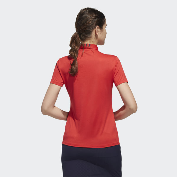 Model Wearing Ladies Polo Red Back BC2869